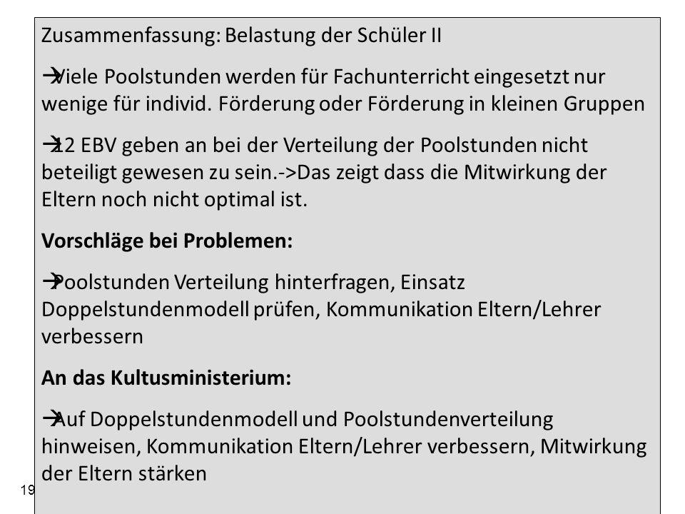 19.05.2014 Arbeitskreis der Elternbeiratsvorsitzenden der Gymnasien im Regierungsbezirk Tübingen 25 Zusammenfassung: Belastung der Schüler II Viele Po