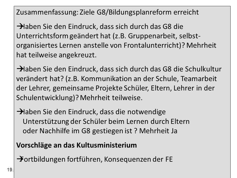 19.05.2014 Arbeitskreis der Elternbeiratsvorsitzenden der Gymnasien im Regierungsbezirk Tübingen 27 Zusammenfassung: Ziele G8/Bildungsplanreform erreicht Haben Sie den Eindruck, dass sich durch das G8 die Unterrichtsform geändert hat (z.B.