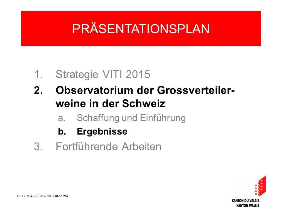 DET / SCA / 2 juin 2008 / (10 de 28) 1.Strategie VITI 2015 2.Observatorium der Grossverteiler- weine in der Schweiz a.Schaffung und Einführung b.Ergeb