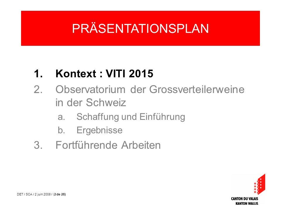 DET / SCA / 2 juin 2008 / (2 de 28) 1.Kontext : VITI 2015 2.Observatorium der Grossverteilerweine in der Schweiz a.Schaffung und Einführung b.Ergebnis