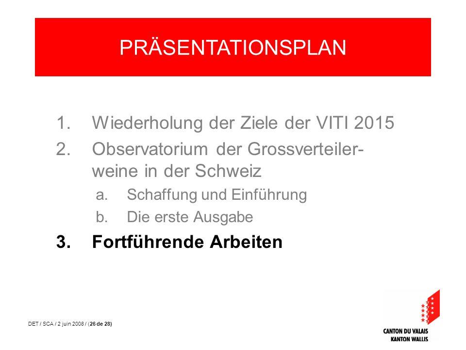 DET / SCA / 2 juin 2008 / (26 de 28) 1.Wiederholung der Ziele der VITI 2015 2.Observatorium der Grossverteiler- weine in der Schweiz a.Schaffung und E