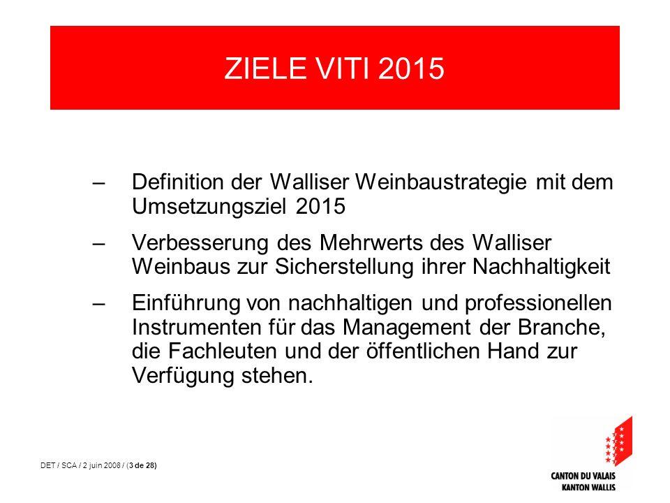 DET / SCA / 2 juin 2008 / (3 de 28) –Definition der Walliser Weinbaustrategie mit dem Umsetzungsziel 2015 –Verbesserung des Mehrwerts des Walliser Wei
