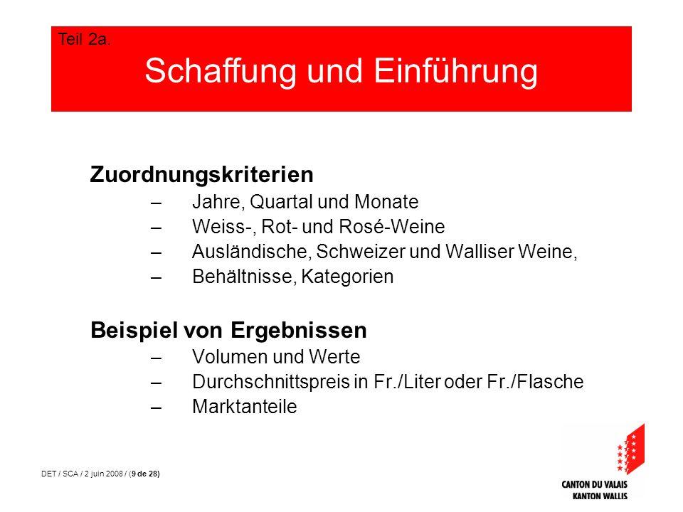 DET / SCA / 2 juin 2008 / (9 de 28) Zuordnungskriterien –Jahre, Quartal und Monate –Weiss-, Rot- und Rosé-Weine –Ausländische, Schweizer und Walliser