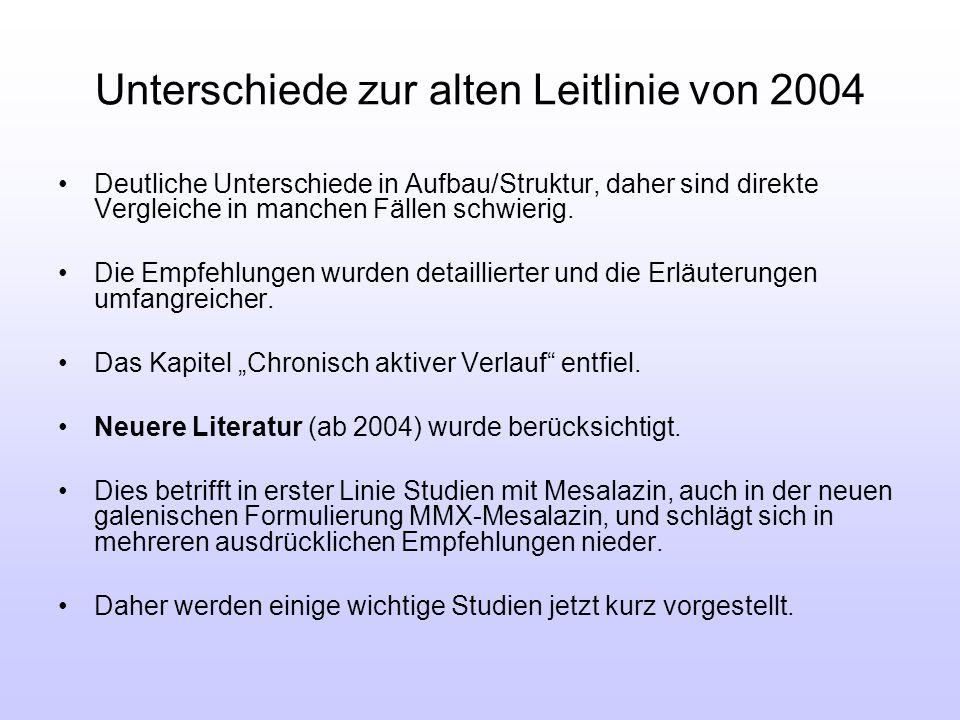 Unterschiede zur alten Leitlinie von 2004 Deutliche Unterschiede in Aufbau/Struktur, daher sind direkte Vergleiche in manchen Fällen schwierig. Die Em