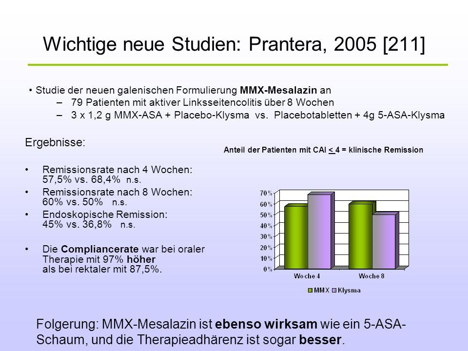 Wichtige neue Studien: Prantera, 2005 [211] Studie der neuen galenischen Formulierung MMX-Mesalazin an –79 Patienten mit aktiver Linksseitencolitis üb