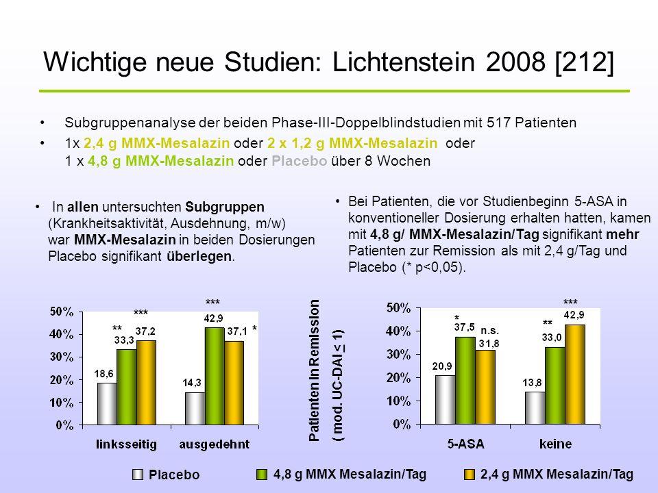 Wichtige neue Studien: Lichtenstein 2008 [212] Subgruppenanalyse der beiden Phase-III-Doppelblindstudien mit 517 Patienten 1x 2,4 g MMX-Mesalazin oder