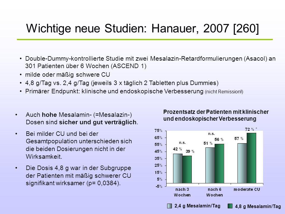 Wichtige neue Studien: Hanauer, 2007 [260] Auch hohe Mesalamin- (=Mesalazin-) Dosen sind sicher und gut verträglich. Bei milder CU und bei der Gesamtp