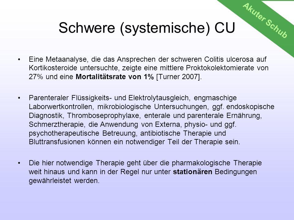 Schwere (systemische) CU Eine Metaanalyse, die das Ansprechen der schweren Colitis ulcerosa auf Kortikosteroide untersuchte, zeigte eine mittlere Prok