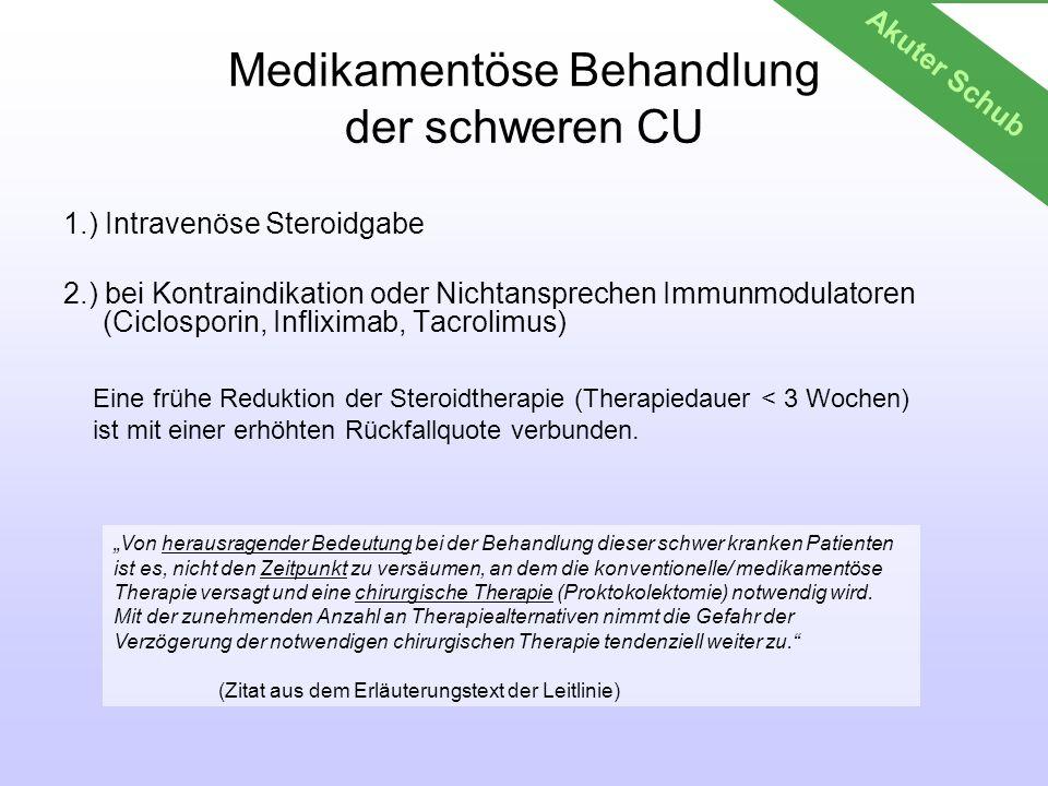 Medikamentöse Behandlung der schweren CU 1.) Intravenöse Steroidgabe 2.) bei Kontraindikation oder Nichtansprechen Immunmodulatoren (Ciclosporin, Infl