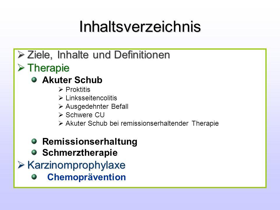 Inhaltsverzeichnis Ziele, Inhalte und Definitionen Ziele, Inhalte und Definitionen Therapie Therapie Akuter Schub Proktitis Linksseitencolitis Ausgede