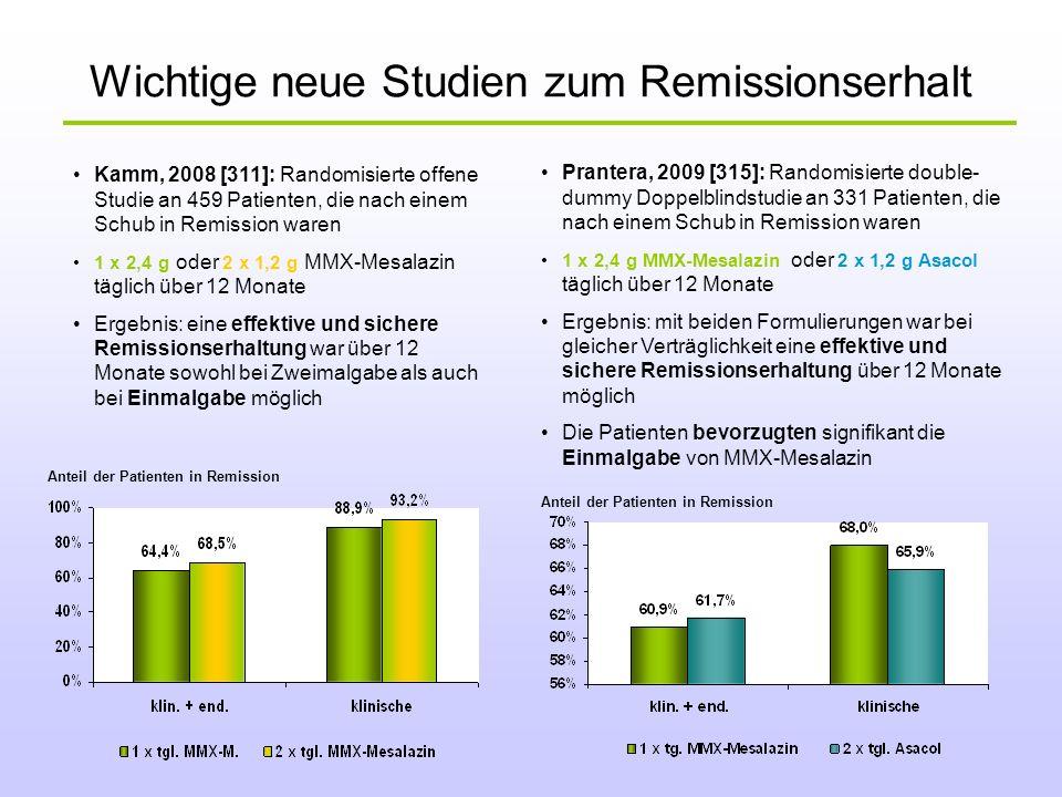 Wichtige neue Studien zum Remissionserhalt Kamm, 2008 [311]: Randomisierte offene Studie an 459 Patienten, die nach einem Schub in Remission waren 1 x