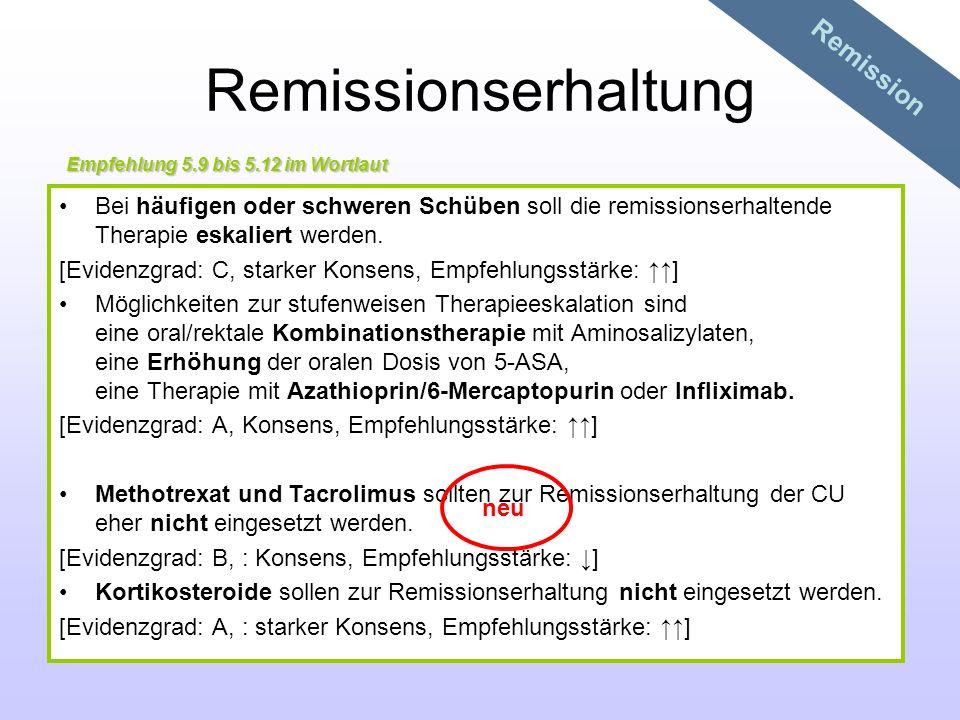 Remissionserhaltung Bei häufigen oder schweren Schüben soll die remissionserhaltende Therapie eskaliert werden. [Evidenzgrad: C, starker Konsens, Empf