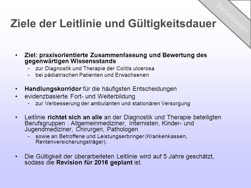 Ziel: praxisorientierte Zusammenfassung und Bewertung des gegenwärtigen Wissensstands -zur Diagnostik und Therapie der Colitis ulcerosa -bei pädiatris