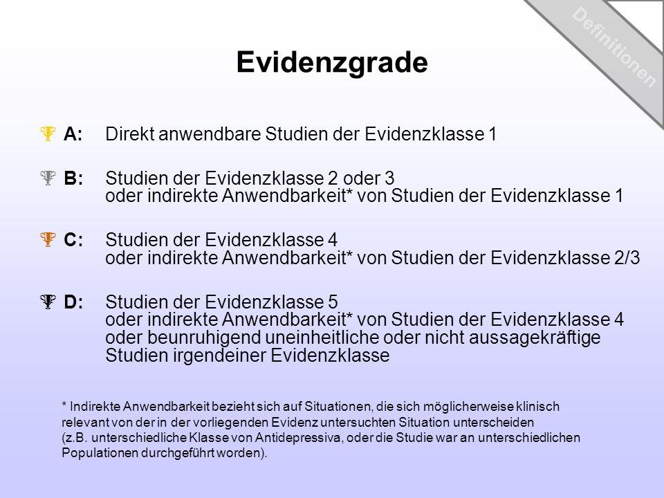 Evidenzgrade A: Direkt anwendbare Studien der Evidenzklasse 1 B: Studien der Evidenzklasse 2 oder 3 oder indirekte Anwendbarkeit* von Studien der Evid