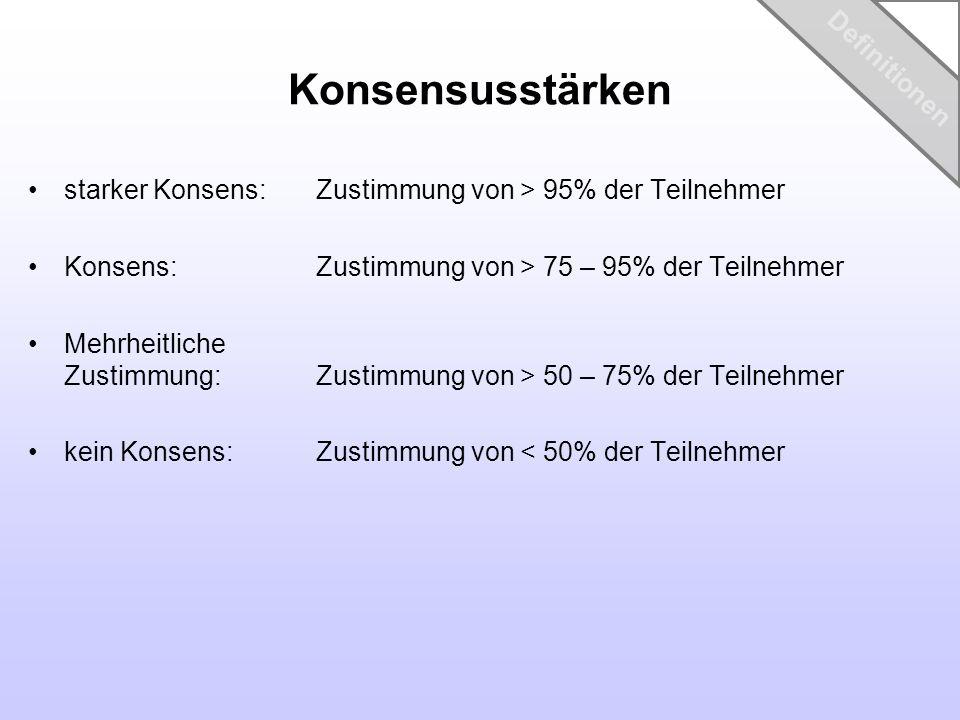 Konsensusstärken starker Konsens: Zustimmung von > 95% der Teilnehmer Konsens: Zustimmung von > 75 – 95% der Teilnehmer Mehrheitliche Zustimmung: Zust