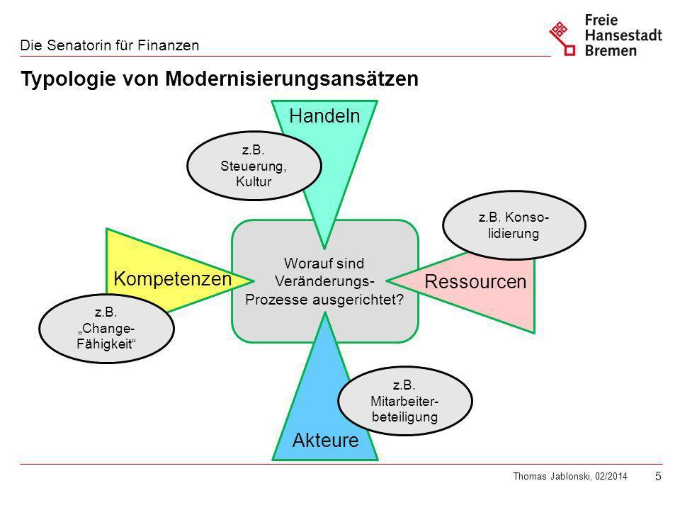 5 Die Senatorin für Finanzen Thomas Jablonski, 02/2014 Worauf sind Veränderungs- Prozesse ausgerichtet.