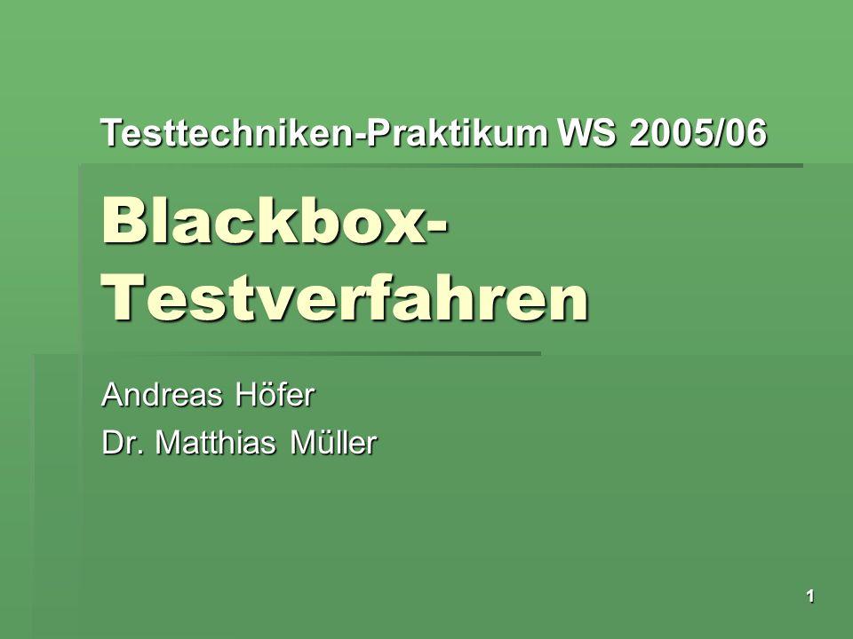 Testtechniken-Praktikum WS 2005/06 1 Blackbox- Testverfahren Andreas Höfer Dr. Matthias Müller