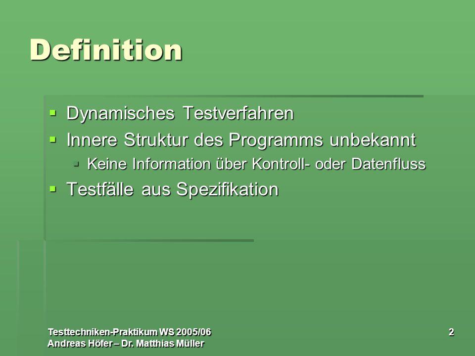 Testtechniken-Praktikum WS 2005/06 Andreas Höfer – Dr. Matthias Müller 2 Definition Dynamisches Testverfahren Dynamisches Testverfahren Innere Struktu