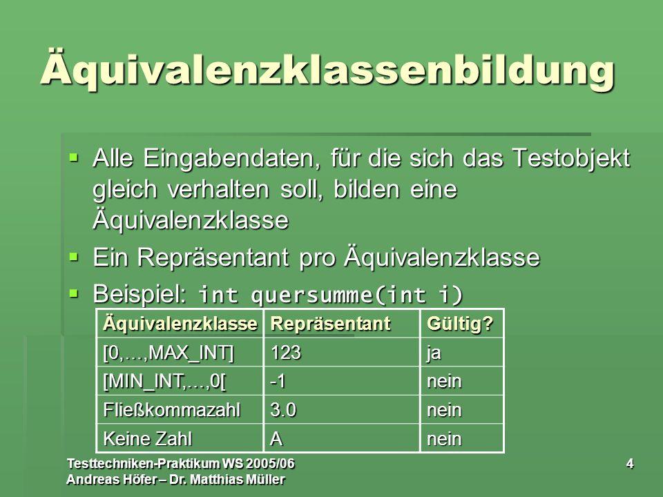 Testtechniken-Praktikum WS 2005/06 Andreas Höfer – Dr. Matthias Müller 4 Äquivalenzklassenbildung Alle Eingabendaten, für die sich das Testobjekt glei