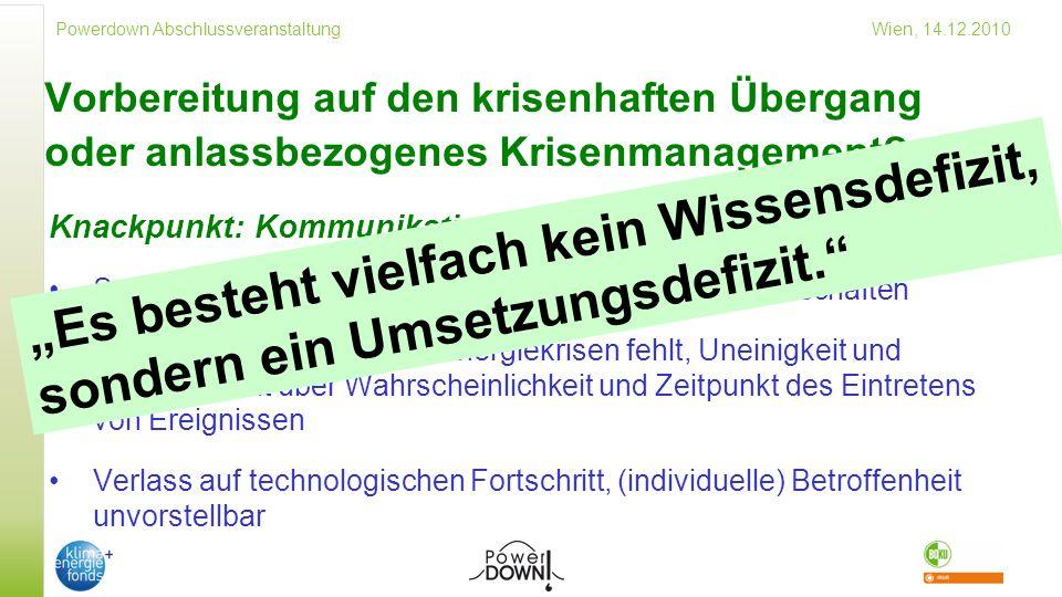 Powerdown Abschlussveranstaltung Wien, 14.12.2010 Vorbereitung auf den krisenhaften Übergang oder anlassbezogenes Krisenmanagement.