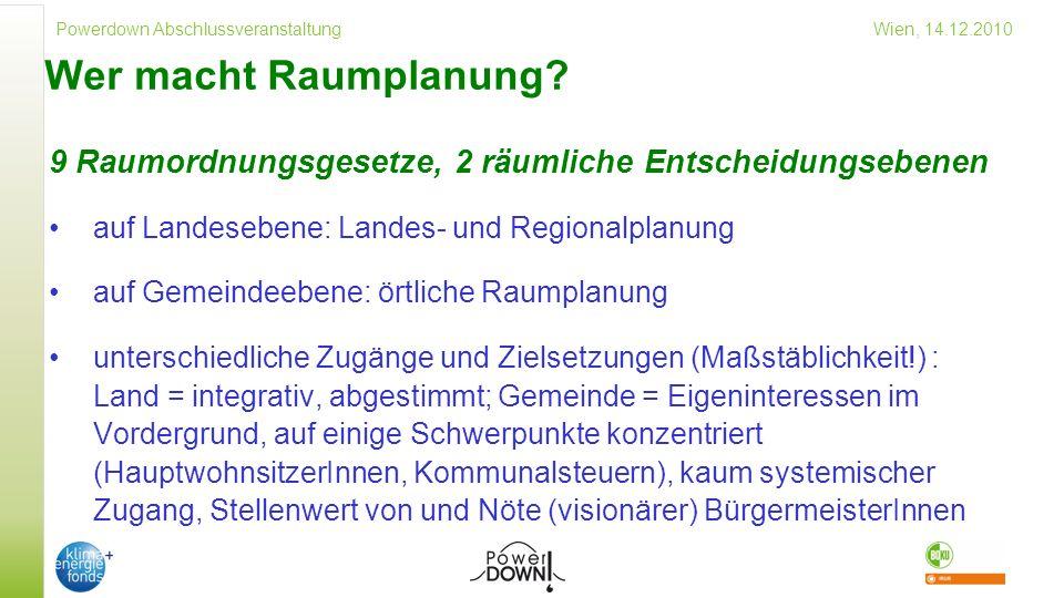 Powerdown Abschlussveranstaltung Wien, 14.12.2010 Wer macht Raumplanung.