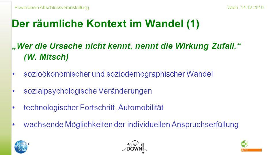 Powerdown Abschlussveranstaltung Wien, 14.12.2010 Der räumliche Kontext im Wandel (1) Wer die Ursache nicht kennt, nennt die Wirkung Zufall.