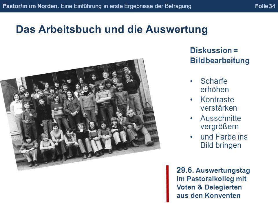 Das Arbeitsbuch und die Auswertung Folie 34 Pastor/in im Norden.