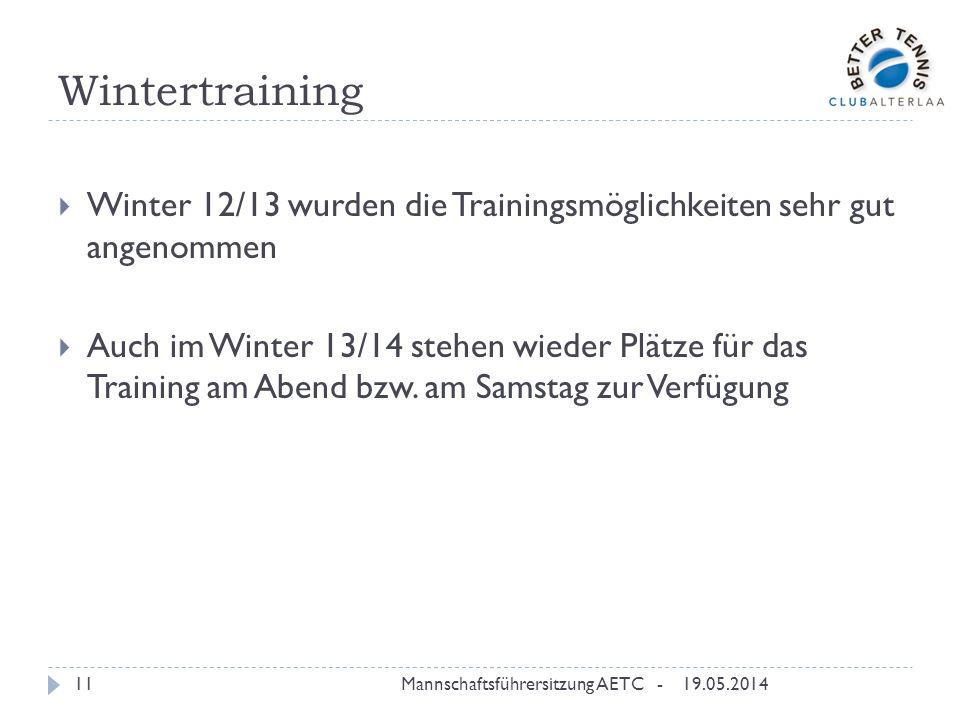 Wintertraining 19.05.2014Mannschaftsführersitzung AETC -11 Winter 12/13 wurden die Trainingsmöglichkeiten sehr gut angenommen Auch im Winter 13/14 stehen wieder Plätze für das Training am Abend bzw.