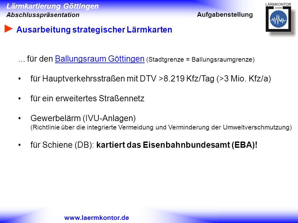 Lärmkartierung Göttingen Abschlusspräsentation www.laermkontor.de... für den Ballungsraum Göttingen (Stadtgrenze = Ballungsraumgrenze) für Hauptverkeh