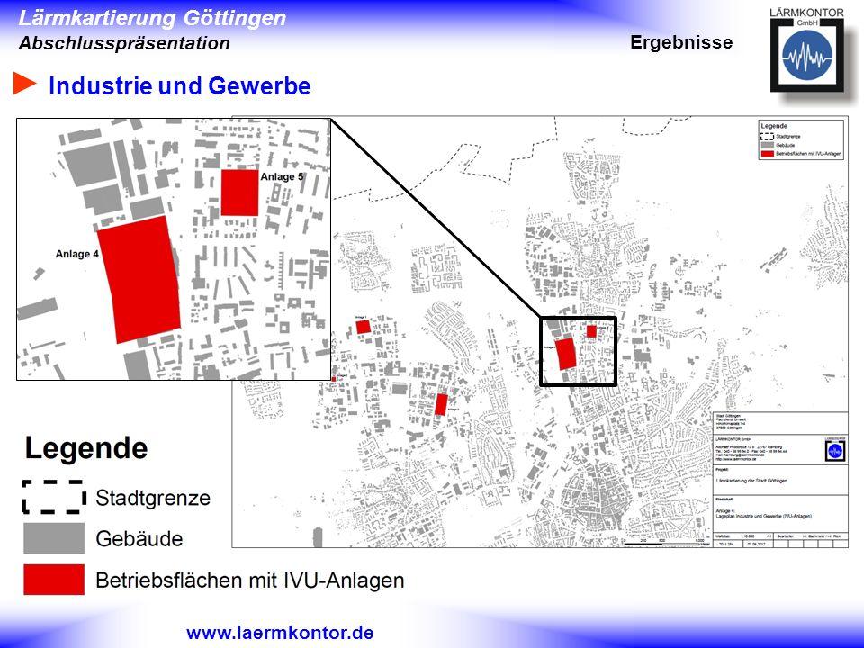 Lärmkartierung Göttingen Abschlusspräsentation www.laermkontor.de Industrie und Gewerbe Ergebnisse