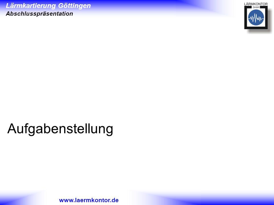 Lärmkartierung Göttingen Abschlusspräsentation www.laermkontor.de Aufgabenstellung