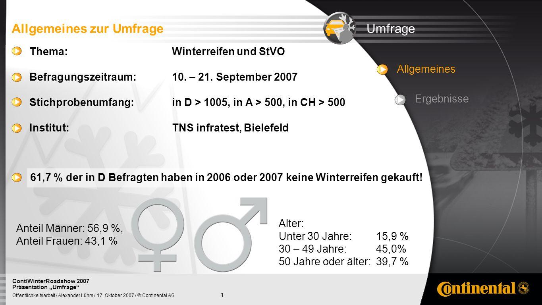 1 Öffentlichkeitsarbeit / Alexander Lührs / 17. Oktober 2007 / © Continental AG ContiWinterRoadshow 2007 Präsentation Umfrage Allgemeines Ergebnisse U