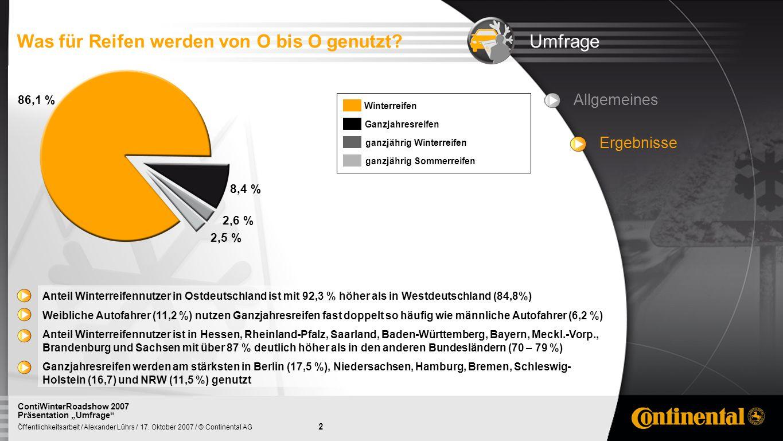 2 Öffentlichkeitsarbeit / Alexander Lührs / 17. Oktober 2007 / © Continental AG ContiWinterRoadshow 2007 Präsentation Umfrage Allgemeines Ergebnisse U