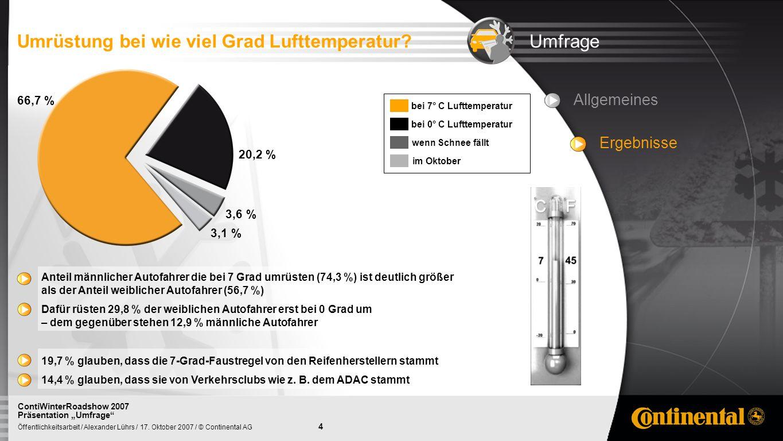 4 Öffentlichkeitsarbeit / Alexander Lührs / 17. Oktober 2007 / © Continental AG ContiWinterRoadshow 2007 Präsentation Umfrage UmfrageUmrüstung bei wie