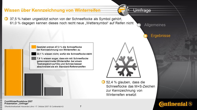 7 Öffentlichkeitsarbeit / Alexander Lührs / 17. Oktober 2007 / © Continental AG ContiWinterRoadshow 2007 Präsentation Umfrage Umfrage Wissen über Kenn