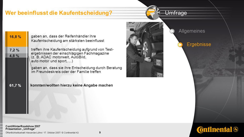 9 Öffentlichkeitsarbeit / Alexander Lührs / 17. Oktober 2007 / © Continental AG ContiWinterRoadshow 2007 Präsentation Umfrage UmfrageWer beeinflusst d