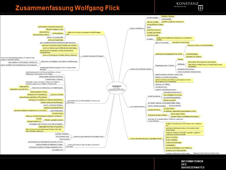 INFORMATIONEN DES BAUDEZERNATES Zusammenfassung Wolfgang Flick