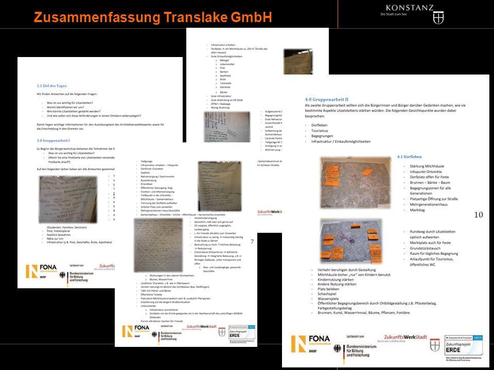 INFORMATIONEN DES BAUDEZERNATES Zusammenfassung Translake GmbH