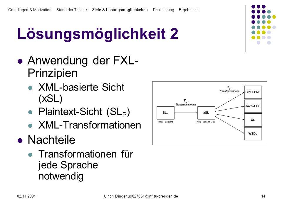 02.11.2004Ulrich Dinger,ud827834@inf.tu-dresden.de14 Lösungsmöglichkeit 2 Anwendung der FXL- Prinzipien XML-basierte Sicht (xSL) Plaintext-Sicht (SL P ) XML-Transformationen Nachteile Transformationen für jede Sprache notwendig Grundlagen & Motivation Stand der Technik Ziele & Lösungsmöglichkeiten Realisierung Ergebnisse