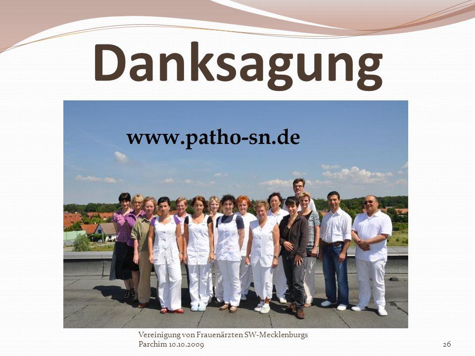 Danksagung Vereinigung von Frauenärzten SW-Mecklenburgs Parchim 10.10.200926