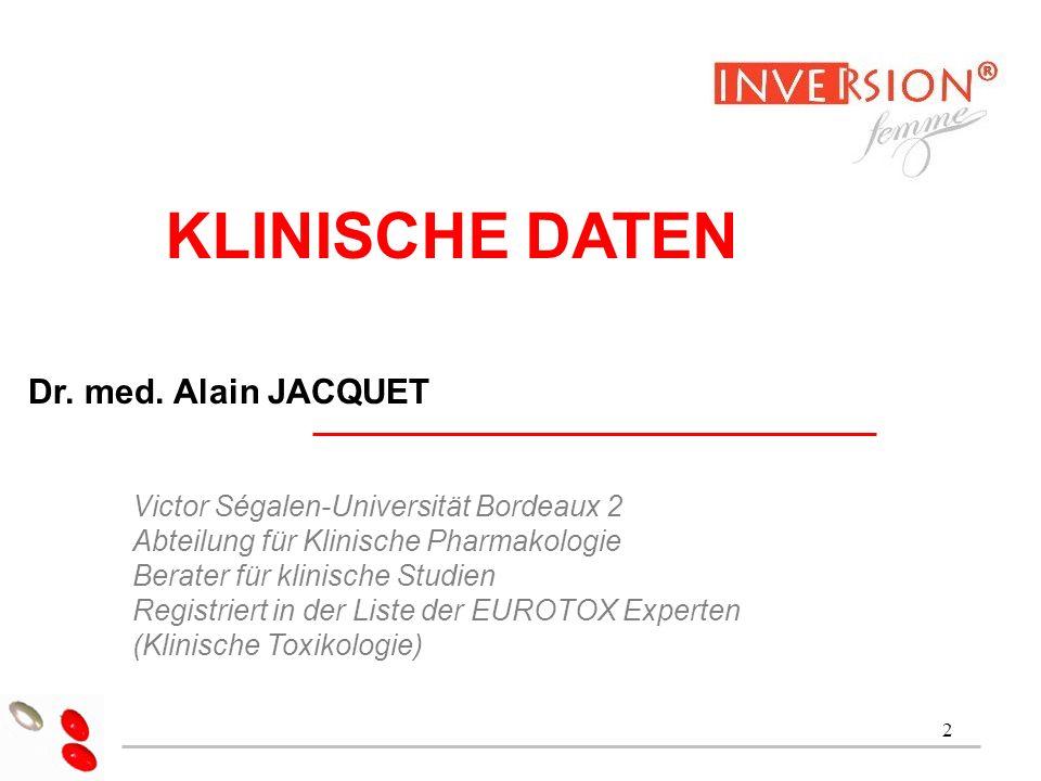 2 Dr Alain Jacquet KLINISCHE DATEN Dr. med. Alain JACQUET Victor Ségalen-Universität Bordeaux 2 Abteilung für Klinische Pharmakologie Berater für klin