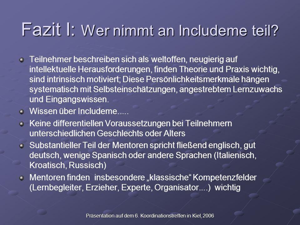 Präsentation auf dem 6. Koordinationstreffen in Kiel, 2006 Fazit I: Wer nimmt an Includeme teil.