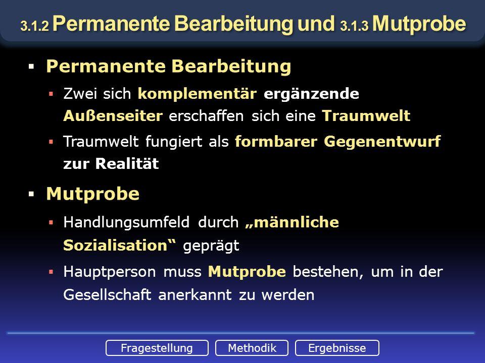 FragestellungMethodikErgebnisse 3.1.2 Permanente Bearbeitung und 3.1.3 Mutprobe Permanente Bearbeitung Zwei sich komplementär ergänzende Außenseiter e