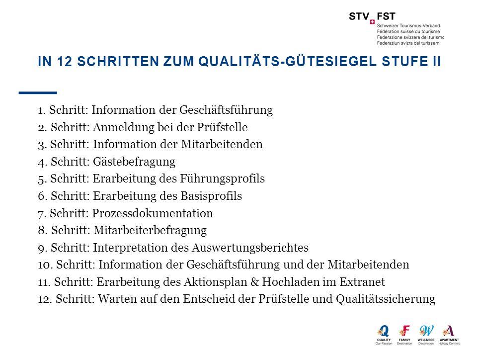 IN 12 SCHRITTEN ZUM QUALITÄTS-GÜTESIEGEL STUFE II 1. Schritt: Information der Geschäftsführung 2. Schritt: Anmeldung bei der Prüfstelle 3. Schritt: In