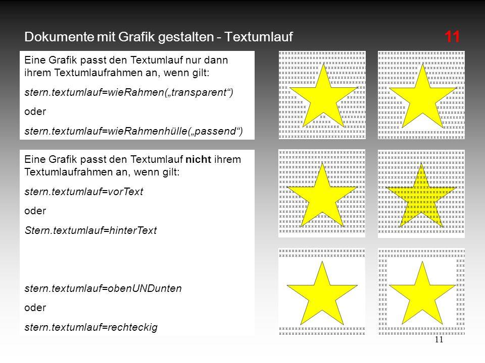11 Dokumente mit Grafik gestalten - Textumlauf Eine Grafik passt den Textumlauf nur dann ihrem Textumlaufrahmen an, wenn gilt: stern.textumlauf=wieRah