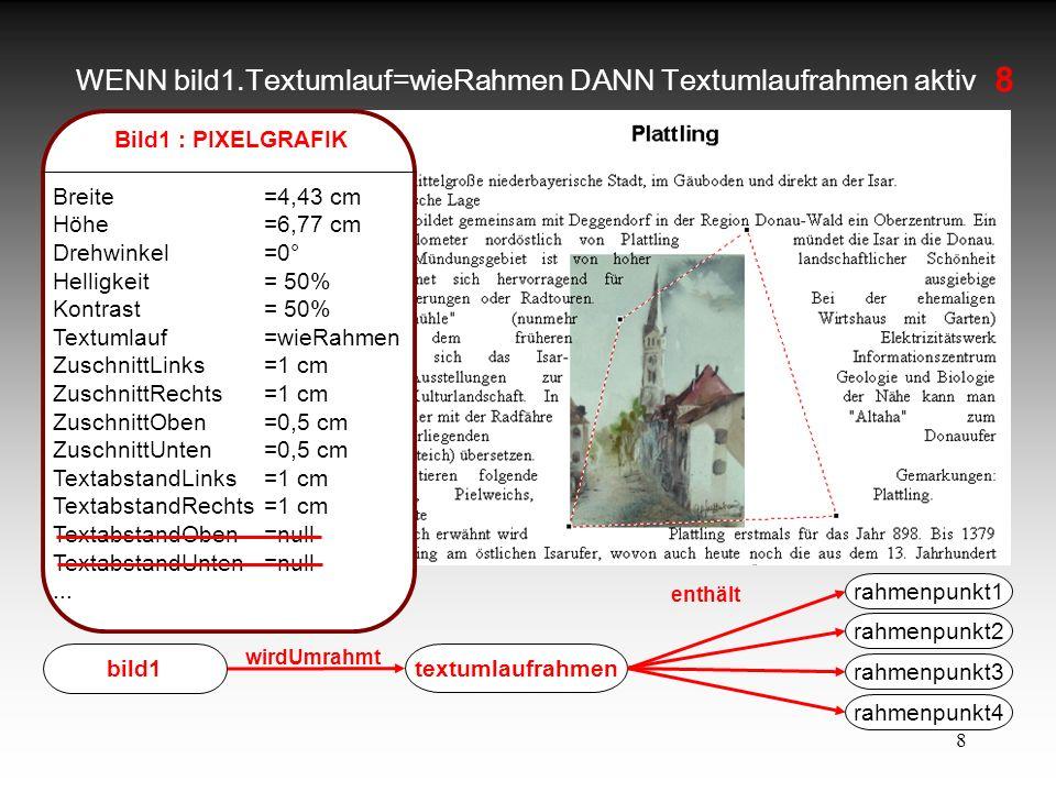 8 WENN bild1.Textumlauf=wieRahmen DANN Textumlaufrahmen aktiv Bild1 : PIXELGRAFIK Breite=4,43 cm Höhe=6,77 cm Drehwinkel=0° Helligkeit= 50% Kontrast =