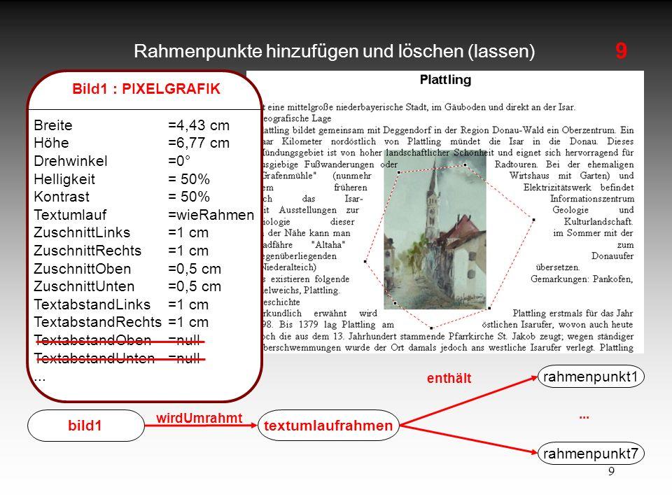 9 Rahmenpunkte hinzufügen und löschen (lassen) Bild1 : PIXELGRAFIK Breite=4,43 cm Höhe=6,77 cm Drehwinkel=0° Helligkeit= 50% Kontrast = 50% Textumlauf