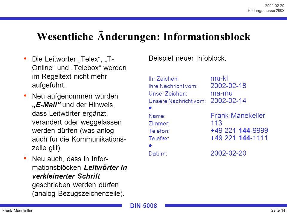 Frank Manekeller Seite 14 2002-02-20 Bildungsmesse 2002 DIN 5008 Wesentliche Änderungen: Informationsblock Die Leitwörter Telex, T- Online und Telebox