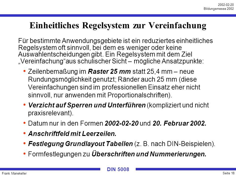 Frank Manekeller Seite 18 2002-02-20 Bildungsmesse 2002 DIN 5008 Einheitliches Regelsystem zur Vereinfachung Für bestimmte Anwendungsgebiete ist ein r
