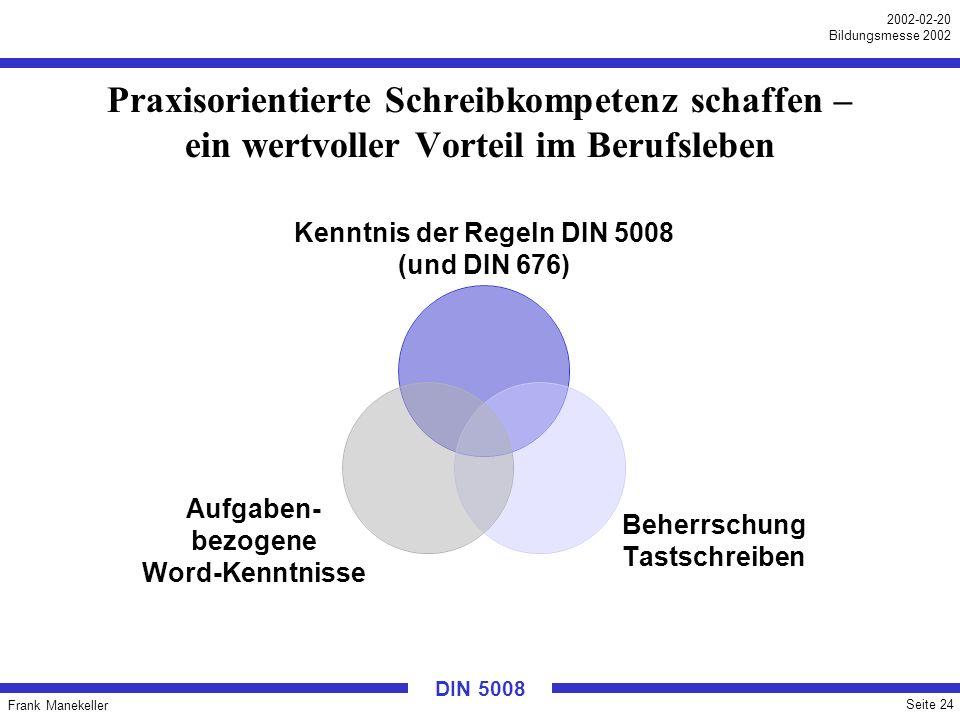 Frank Manekeller Seite 24 2002-02-20 Bildungsmesse 2002 DIN 5008 Praxisorientierte Schreibkompetenz schaffen – ein wertvoller Vorteil im Berufsleben K
